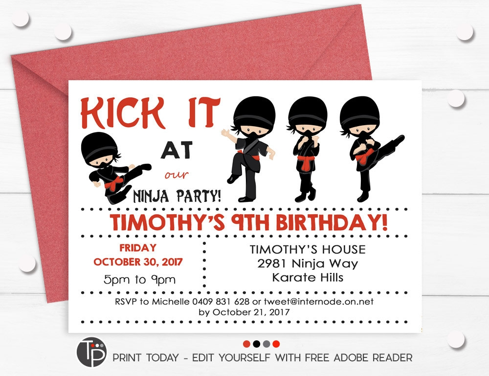 kick it ninja invitation example
