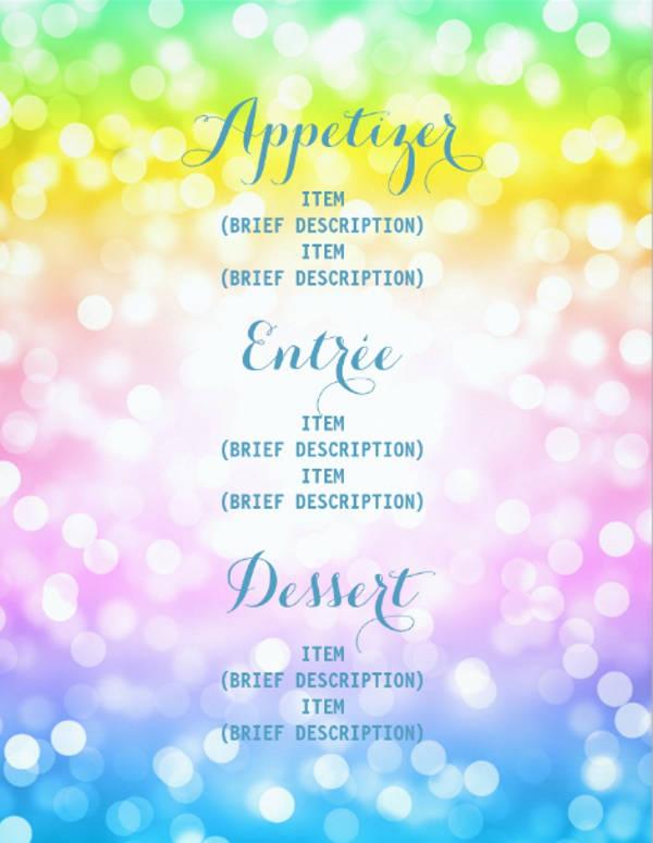 kids birthday party menu unicorn rainbow card