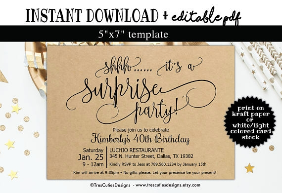 kraft paper surprise party invitation example