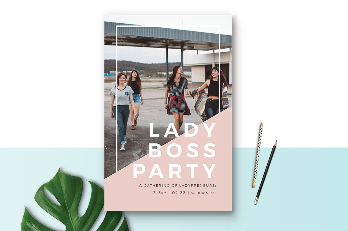 lady boss party event poster example
