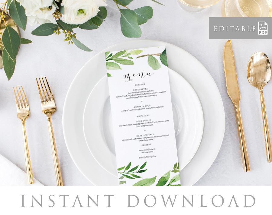 leaf border wedding menu example