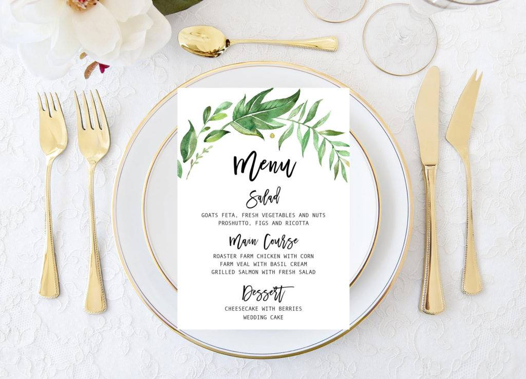 leaf wreath wedding menu example
