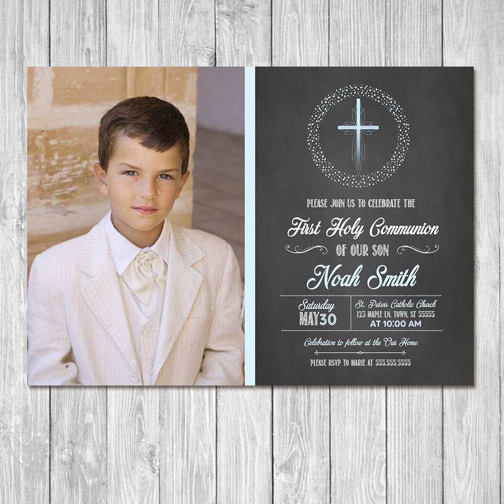 little boy first communion invitation
