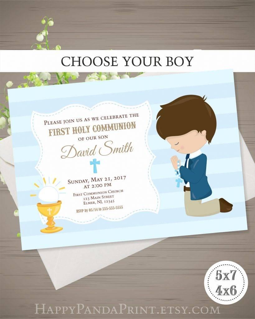 little boy praying first communion invitation
