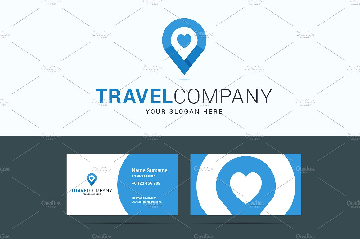 location icon travel agency card example