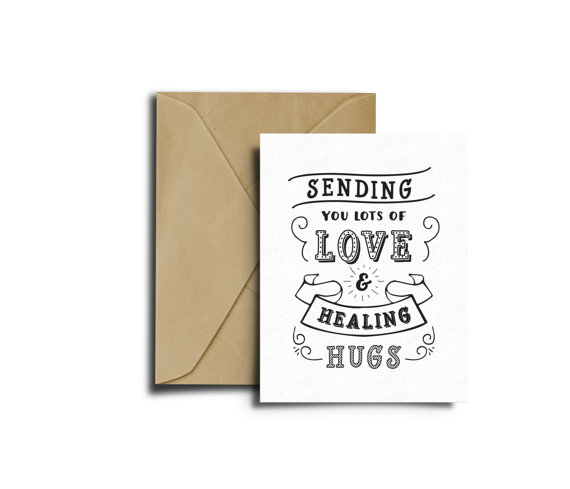 love and hugs get well greeting card example