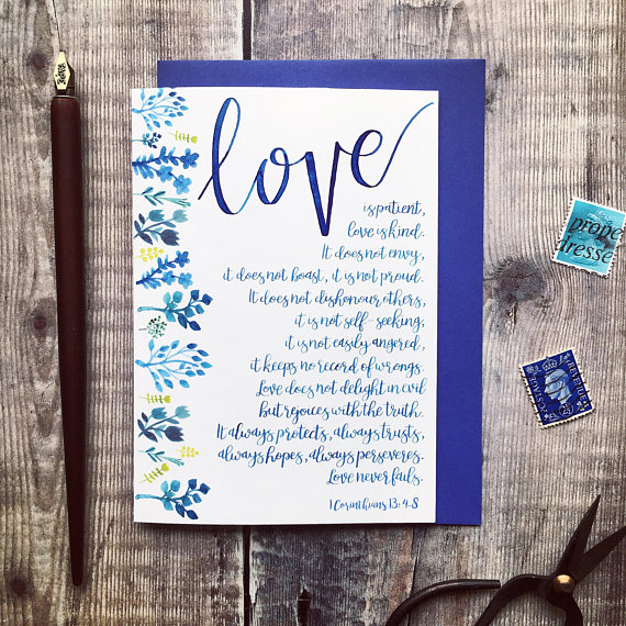 love is patient scripture wedding card example