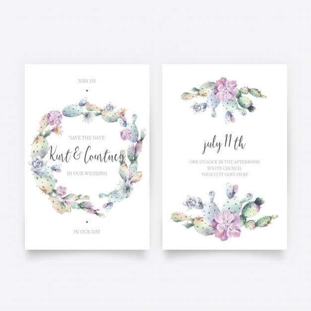 lovely watercolor wedding invitation card