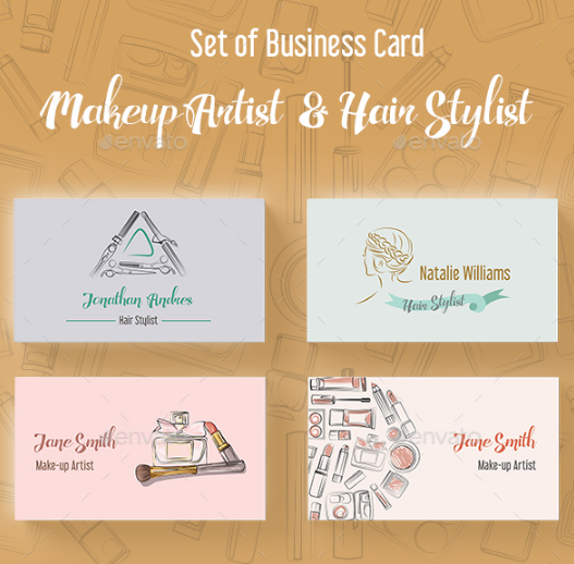 makeup artist and hair stylist business card