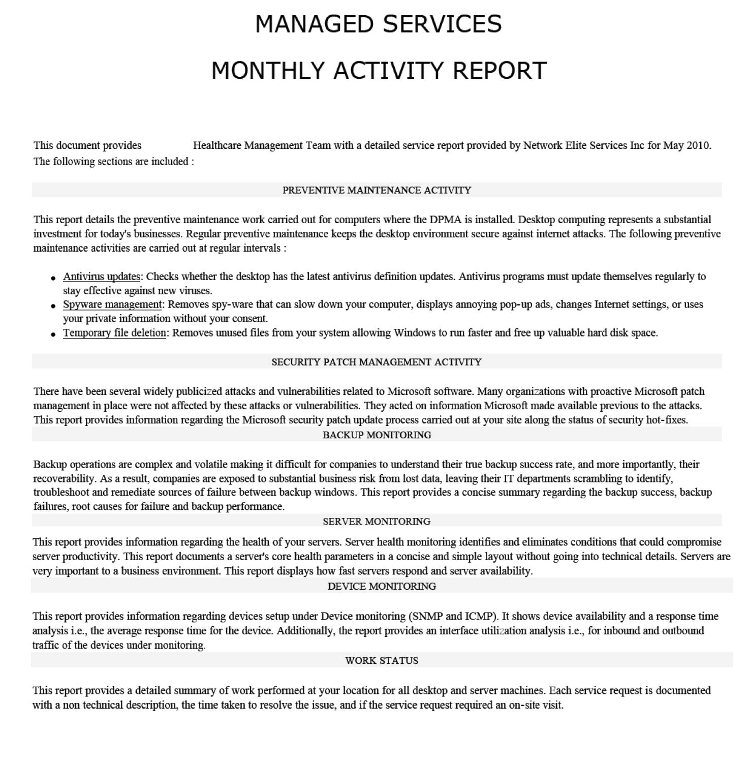 managed services english report example