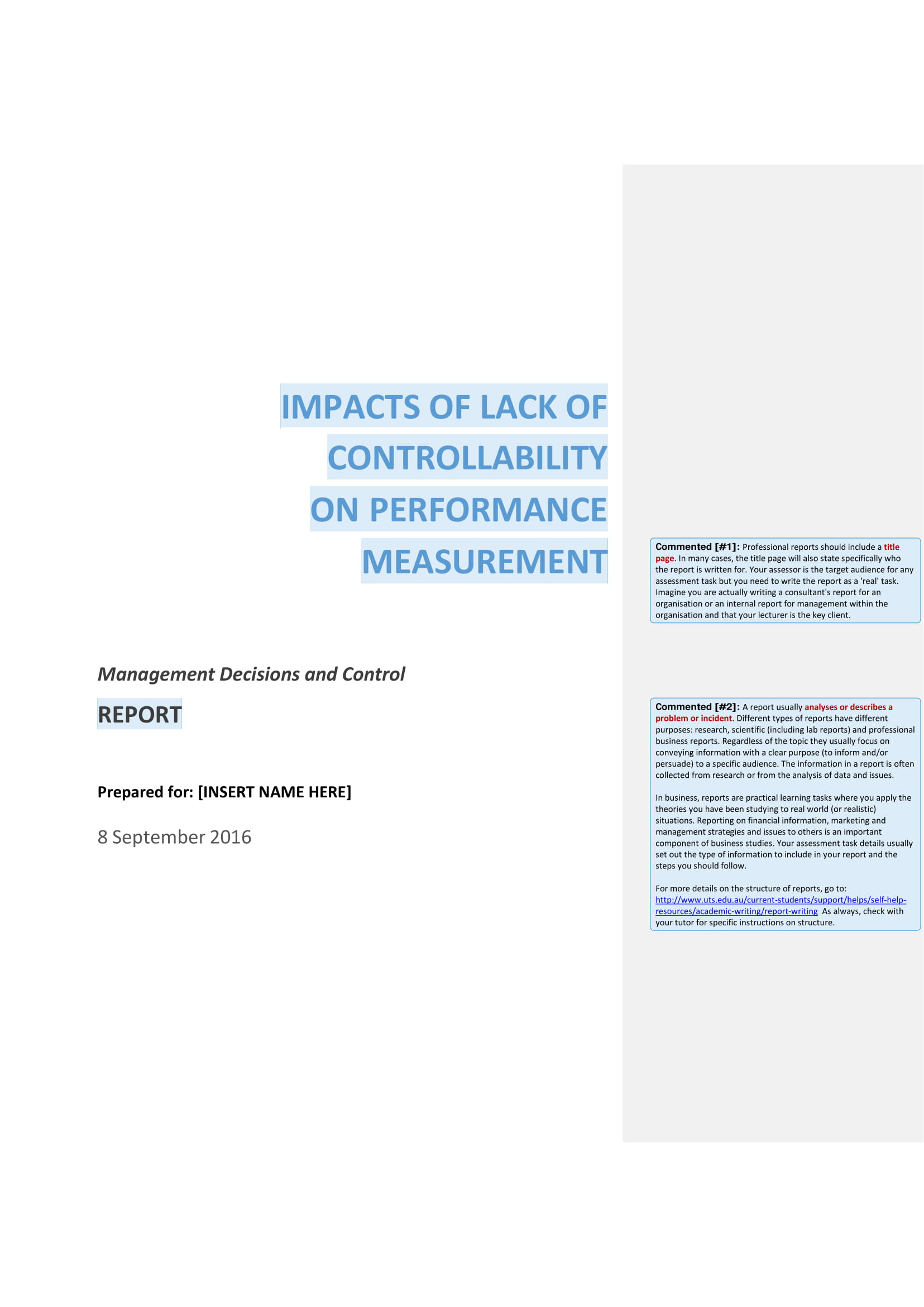 management decisions and control academic report example