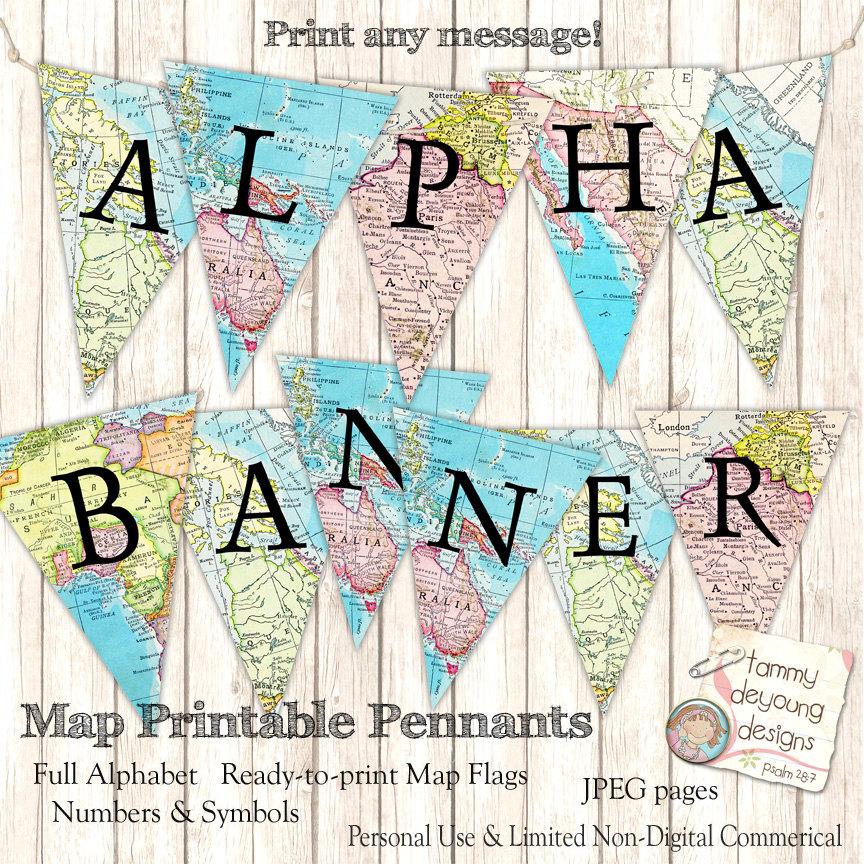 map banner garland graduation banner example