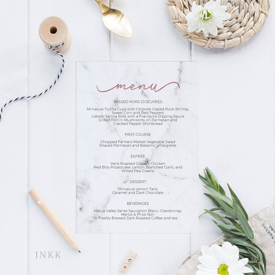 marble rose gold wedding menu example