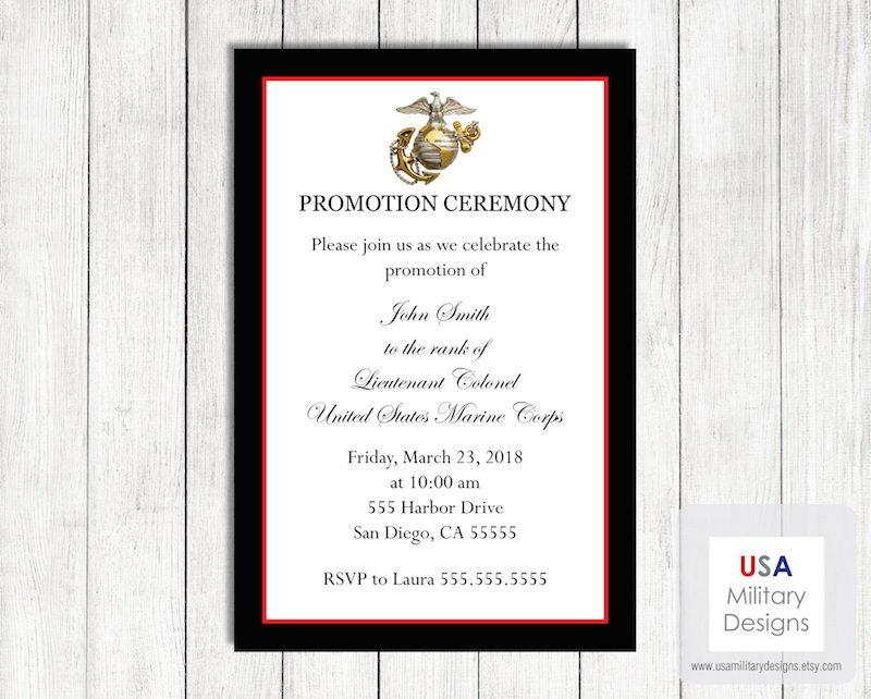 marine corps promotion ceremony invitation and announcement example