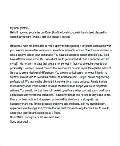 marriage rejection letter