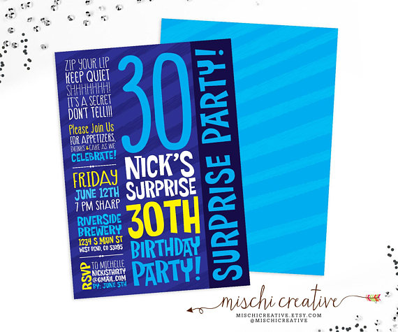 masculine surprise party invitation example