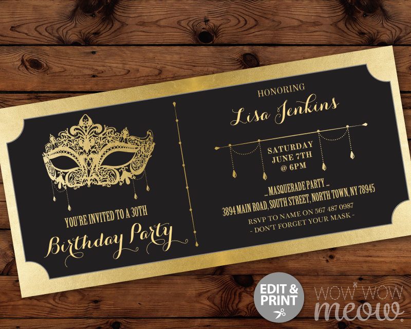 masquerade birthday invitation design example