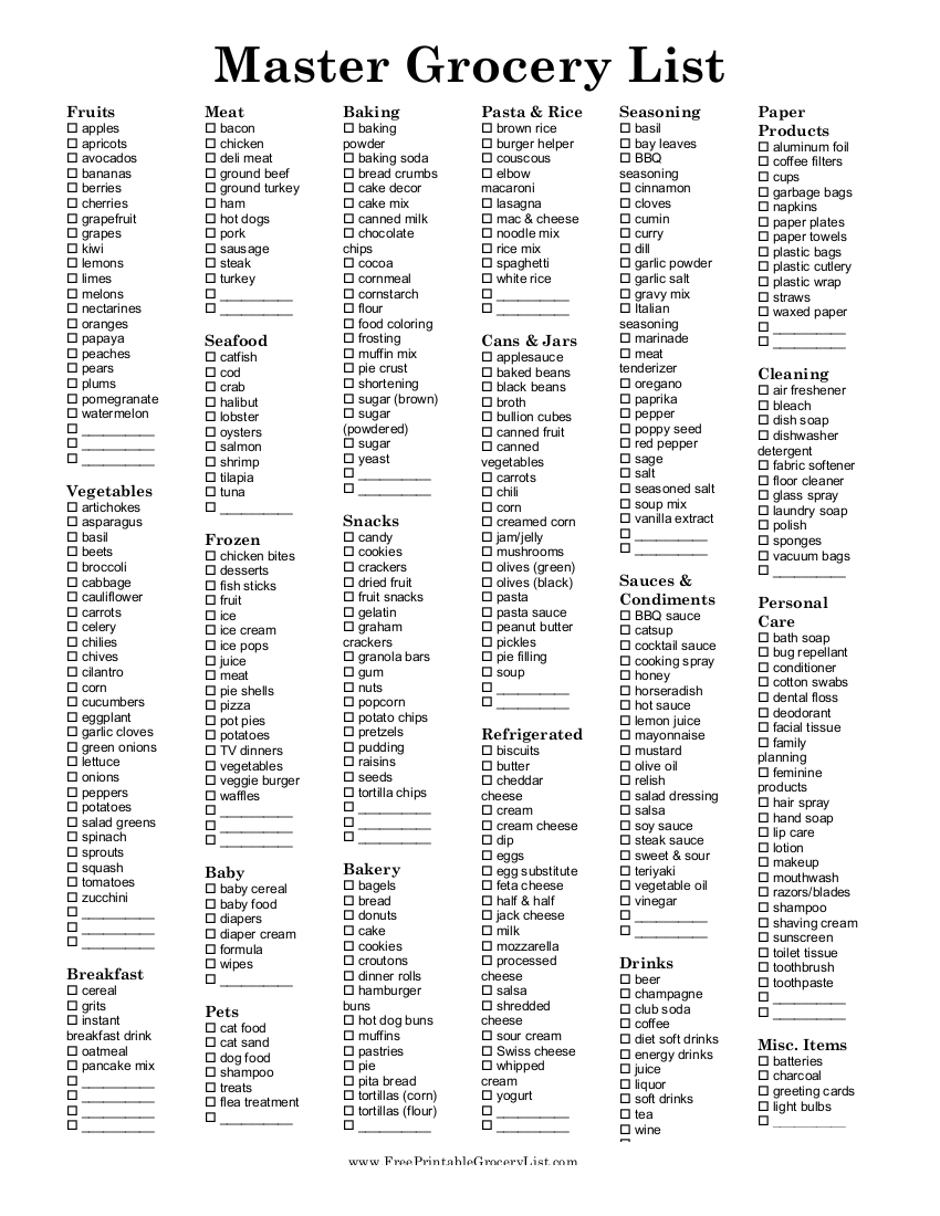 11+ grocery list examples - pdf