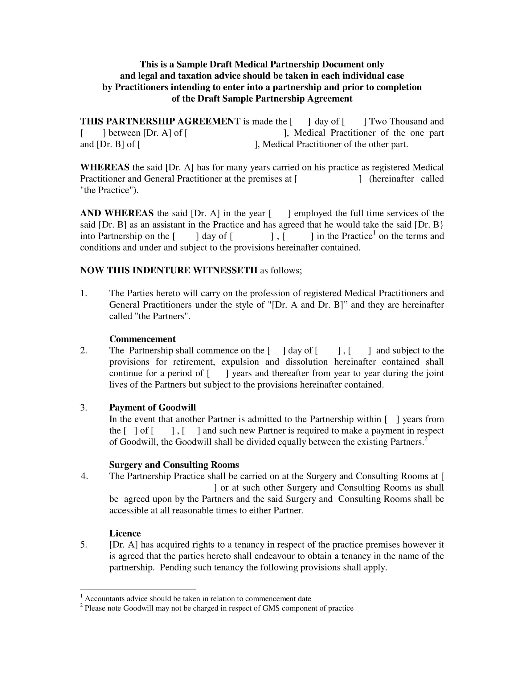medical partnership agreement letter example