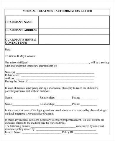 medical treatment authorization