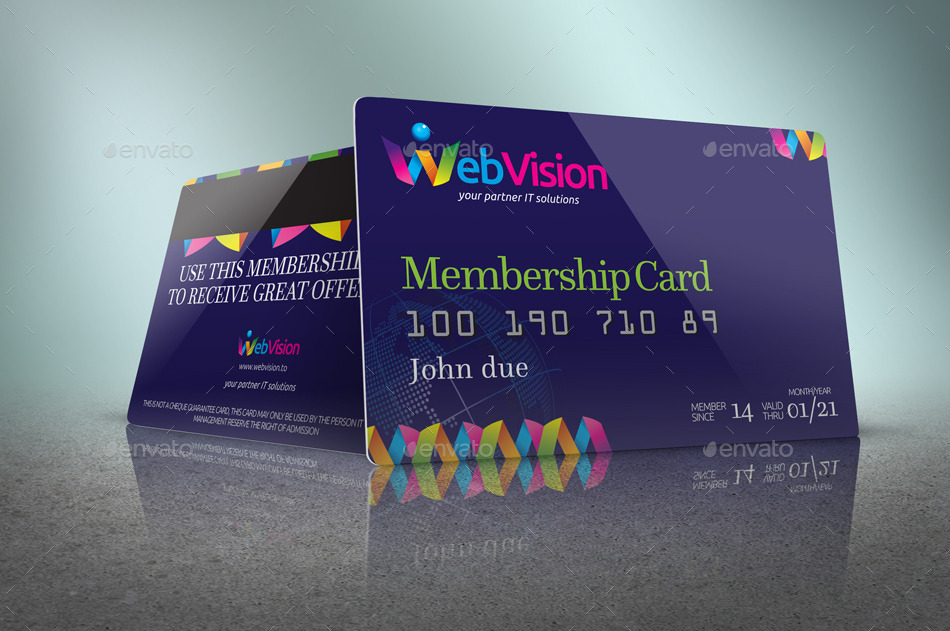 membership card or credit card mock up