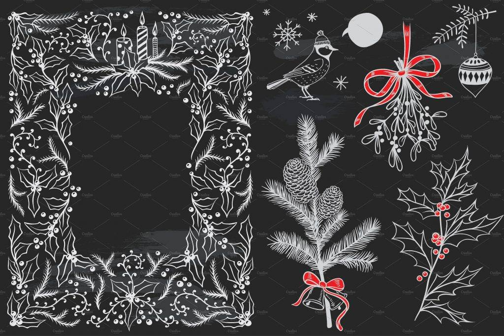 merry christmas chalkboard set