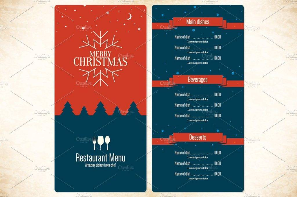 merry christmas party menu example