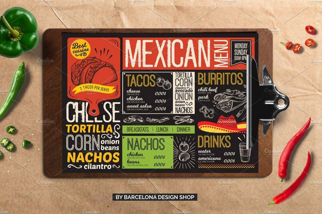 mexican food drive through menu example