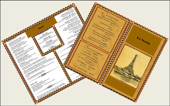miniature french restaurant menu example