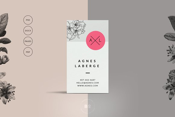 minimal floral business card example