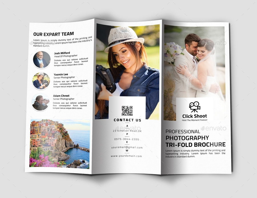 minimal photography trifold brochure example