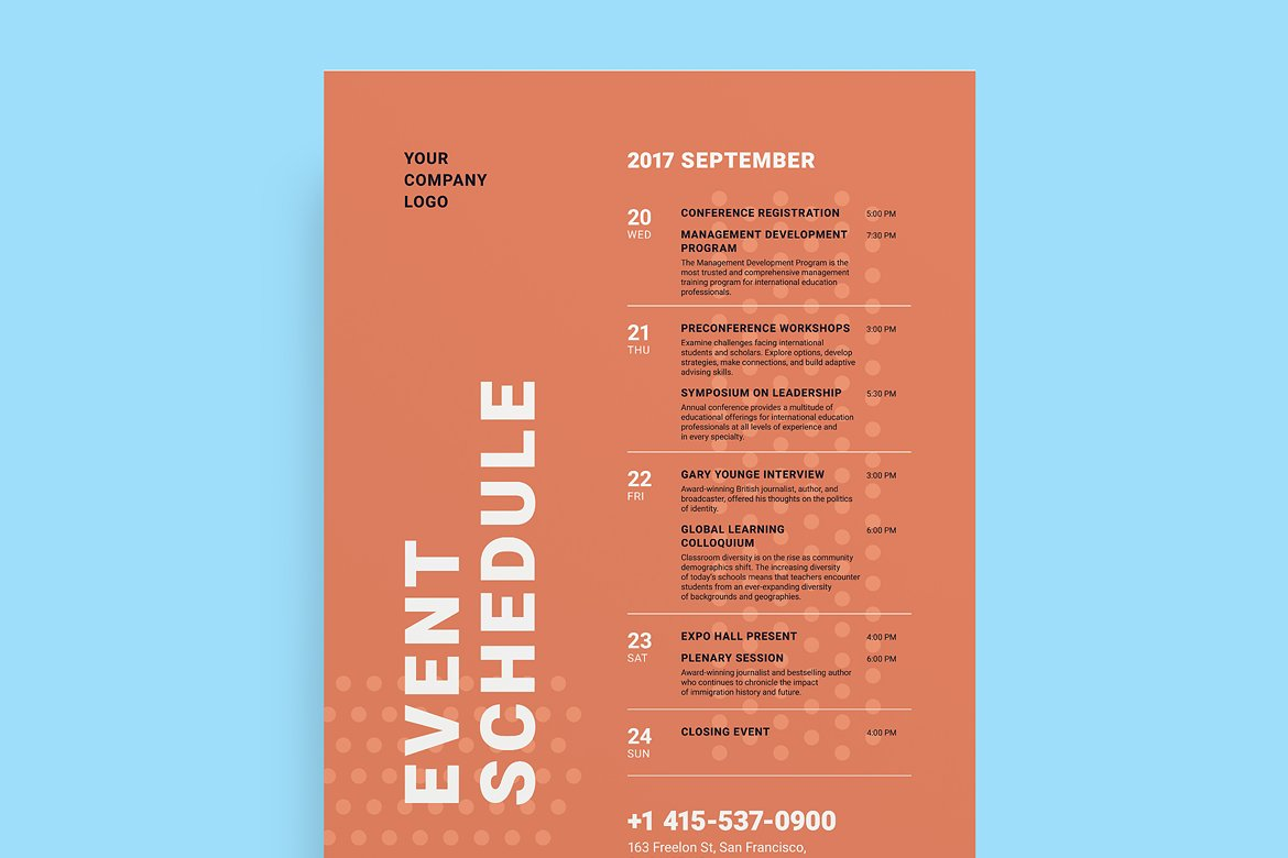 minimalist event schedule poster example