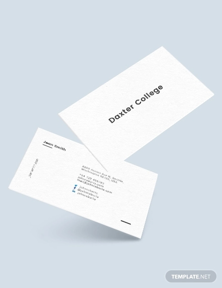 minimalist teacher business card