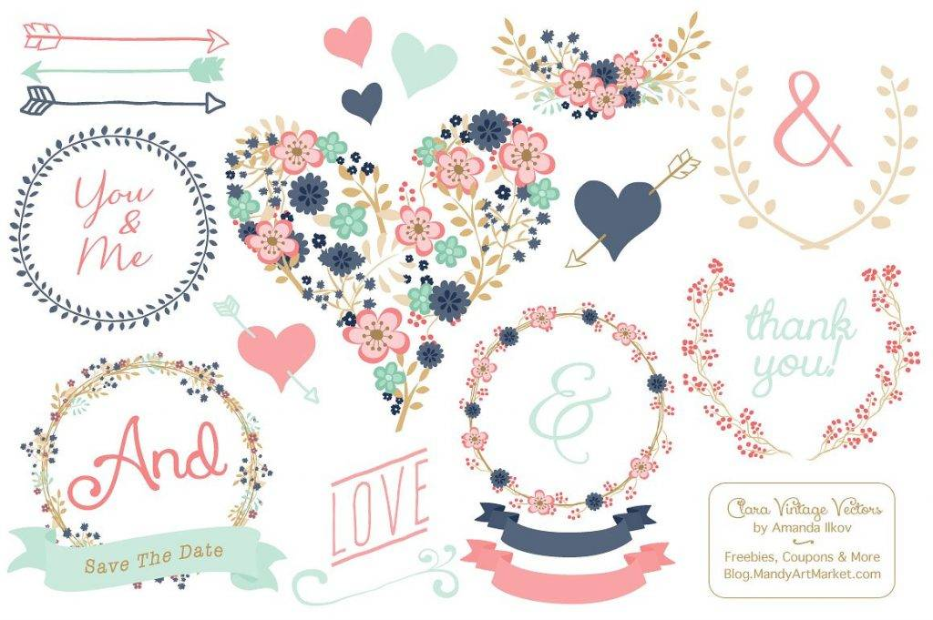 modern floral heart and banner example