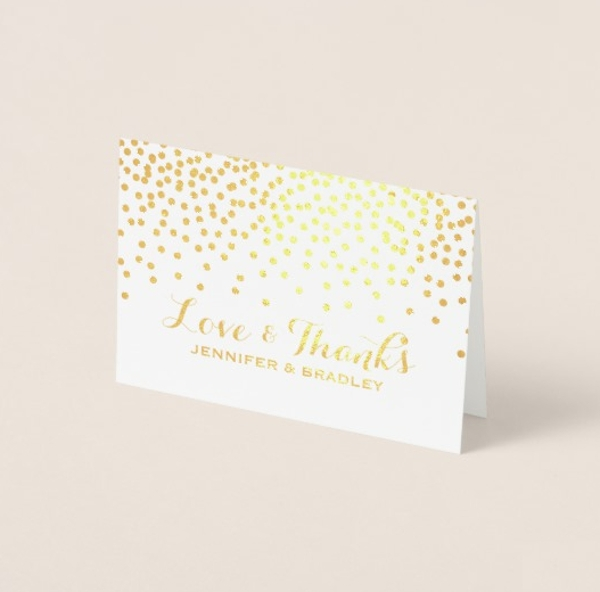 modern gold foil wedding thank you greeting card