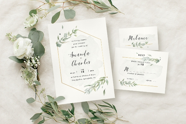 modern gold foliage wedding invitation