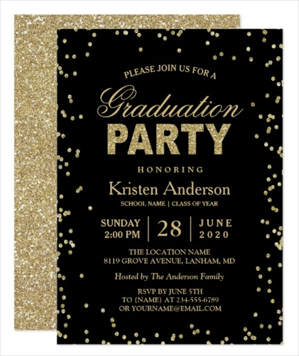 modern gold glitter sparkles graduation party gift card
