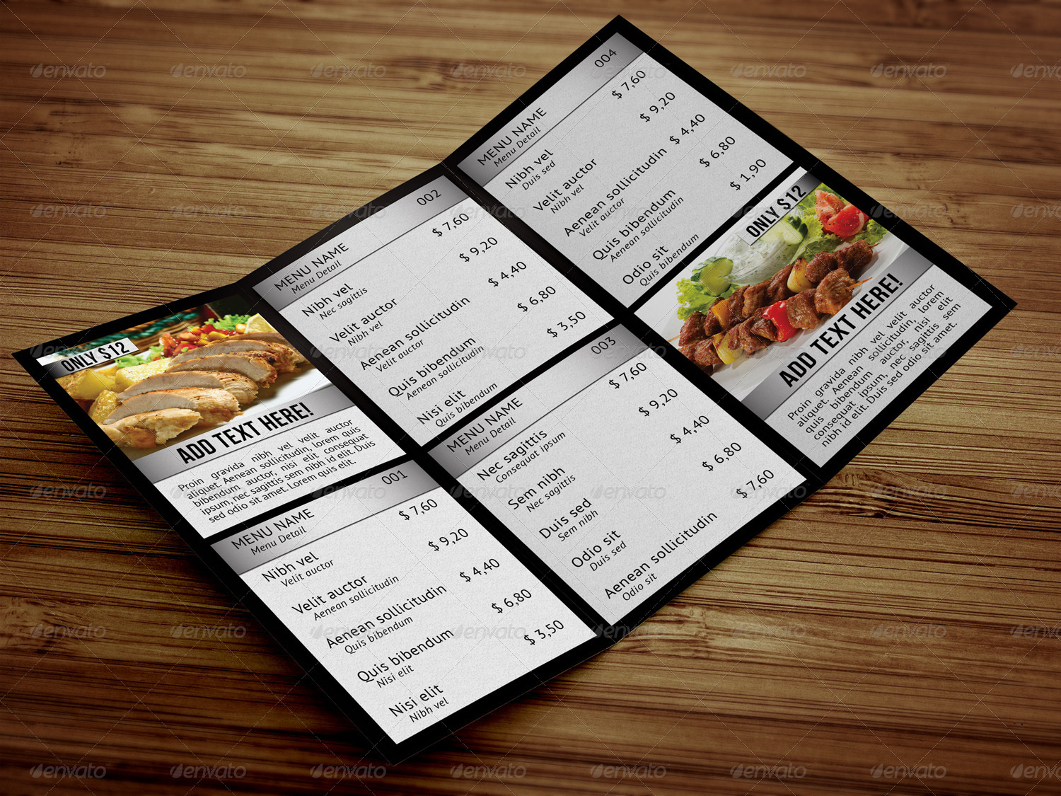 modern trifold food menu example