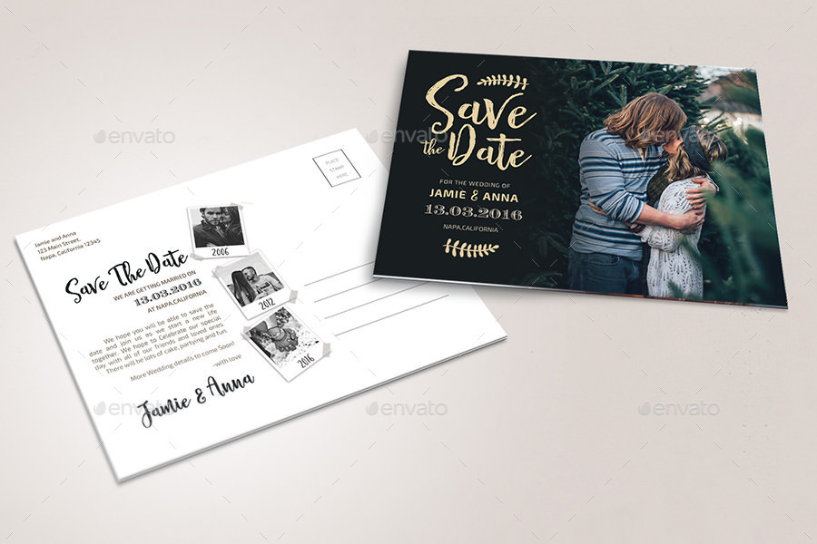 modern wedding save the date postcard example
