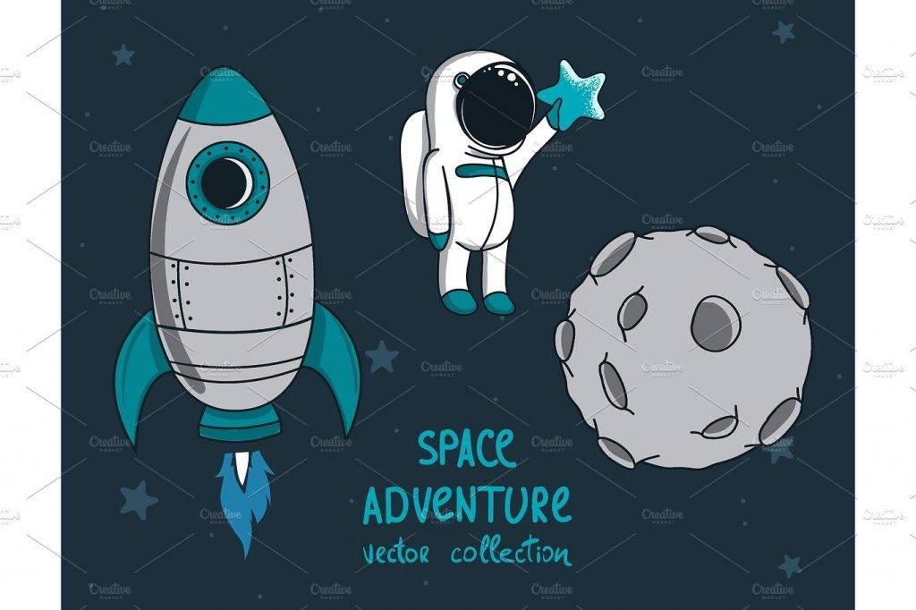 moon rocket astronaut design postcard example