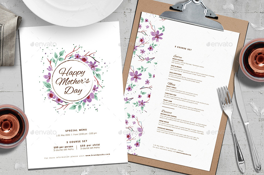 mothers day wreath party menu example