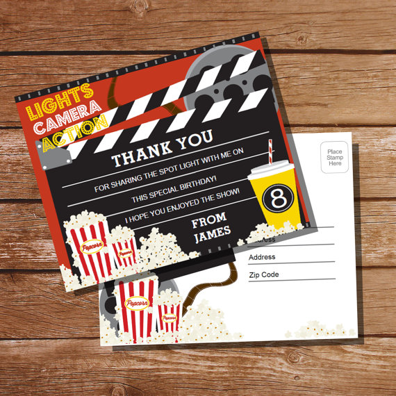 movie night thank you postcard example