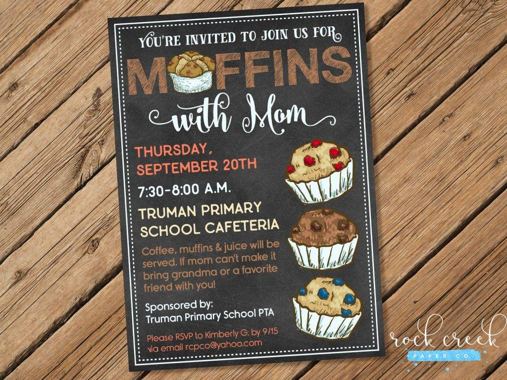 muffins with mom breakfast invitation example