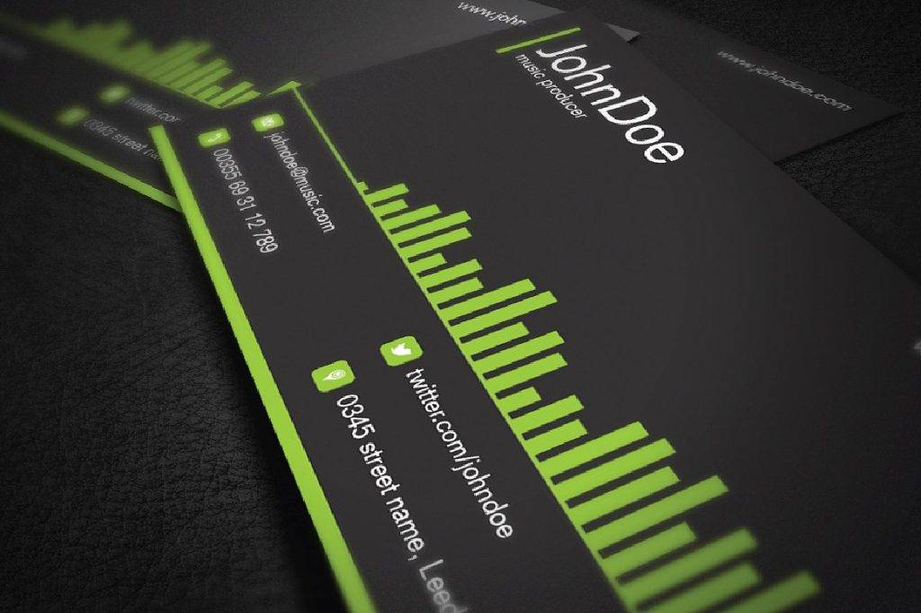 music producer green business card