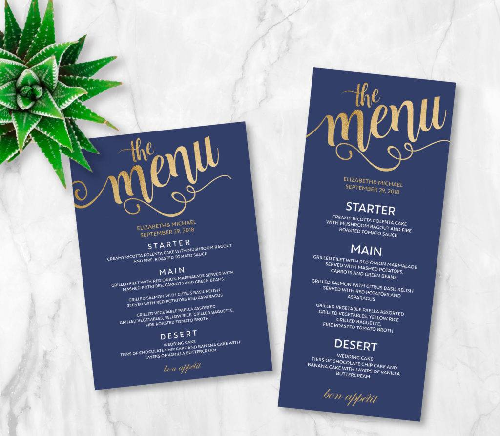navy gold printable wedding menu example1