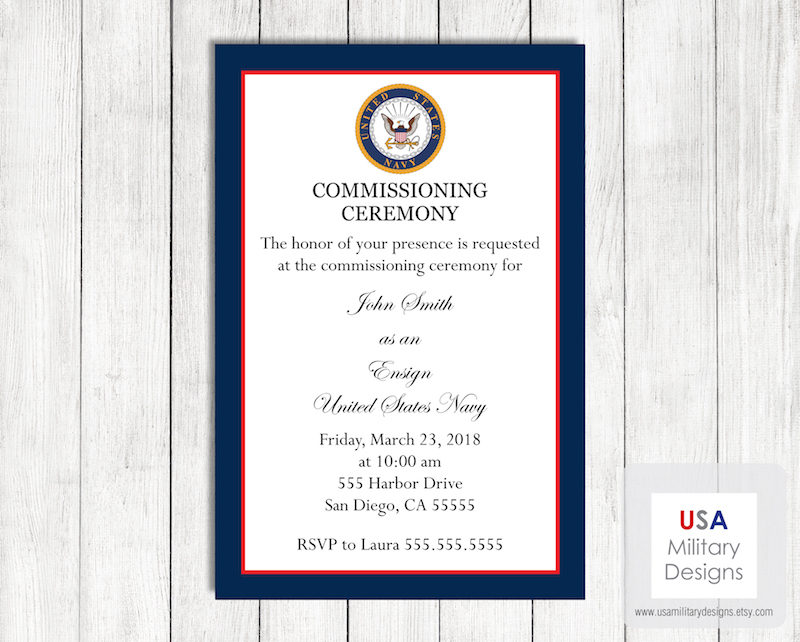 navy military commissioning ceremony invitation and announcement example