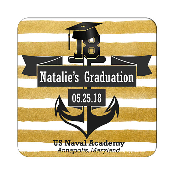 navy themed graduation label example