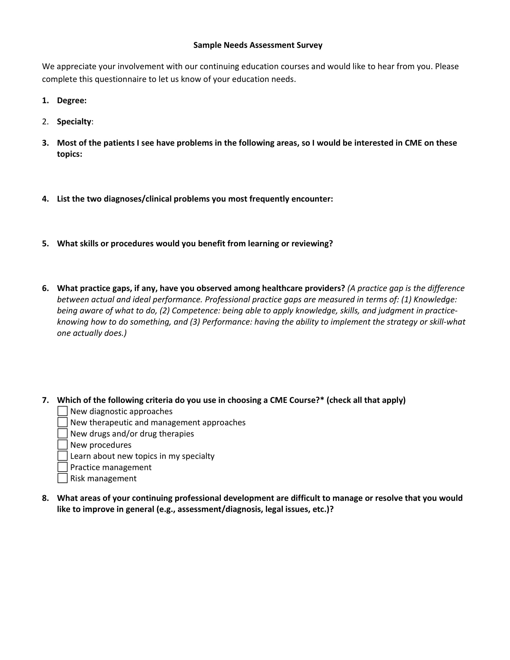 needs assessment survey example