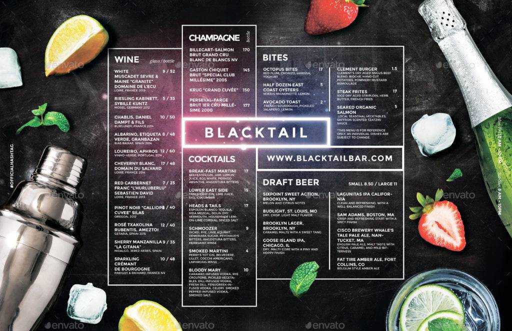 neon chalkboard cocktail menu example