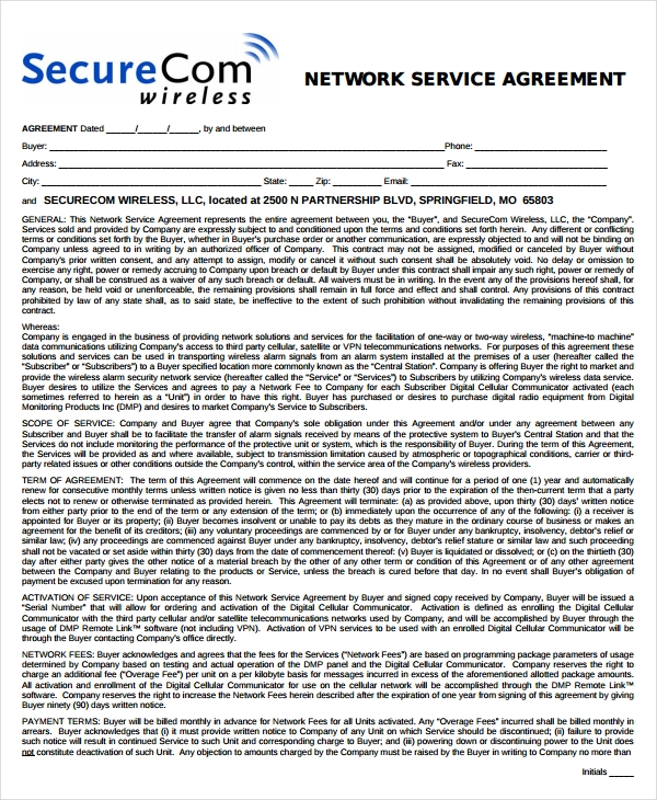 network service agreement